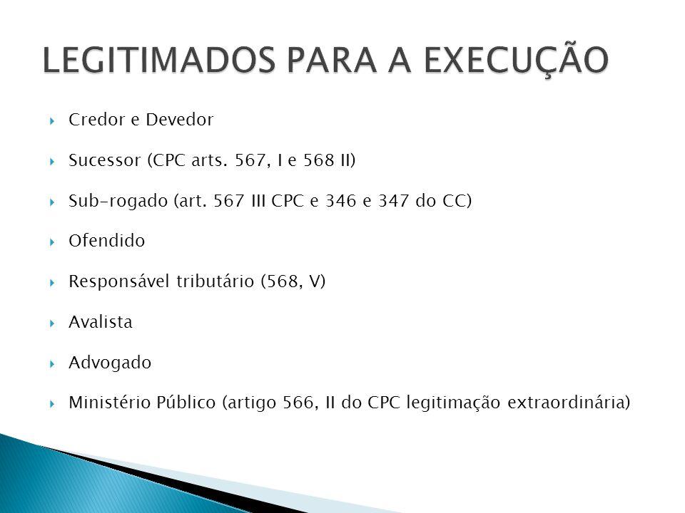  Credor e Devedor  Sucessor (CPC arts. 567, I e 568 II)  Sub-rogado (art. 567 III CPC e 346 e 347 do CC)  Ofendido  Responsável tributário (568,