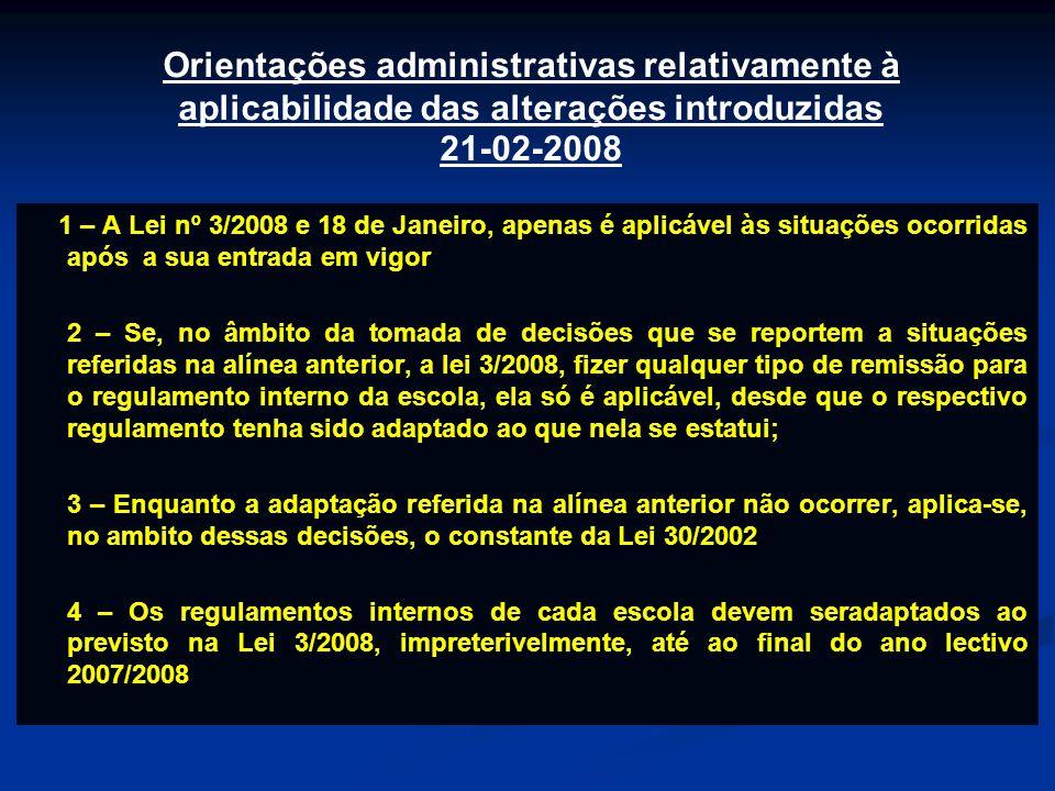 1 – A Lei nº 3/2008 e 18 de Janeiro, apenas é aplicável às situações ocorridas após a sua entrada em vigor 2 – Se, no âmbito da tomada de decisões que