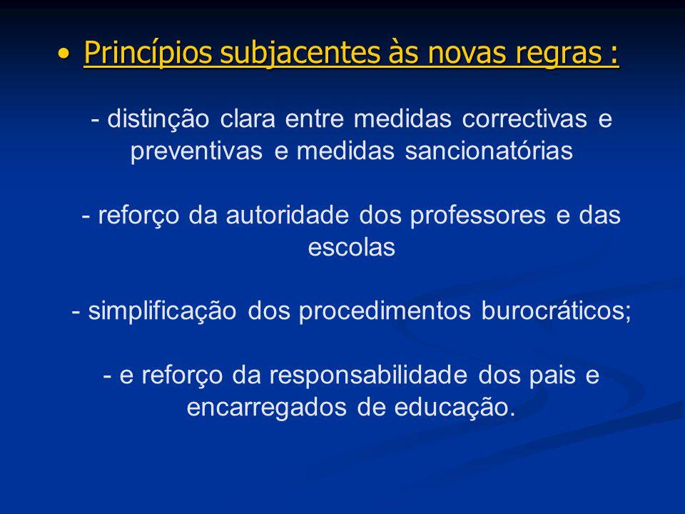 Princípios subjacentes às novas regras :Princípios subjacentes às novas regras : - distinção clara entre medidas correctivas e preventivas e medidas s