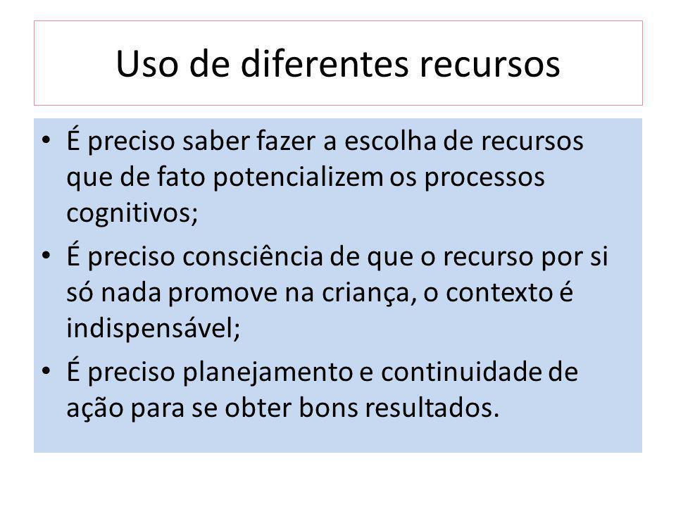 Uso de diferentes recursos É preciso saber fazer a escolha de recursos que de fato potencializem os processos cognitivos; É preciso consciência de que