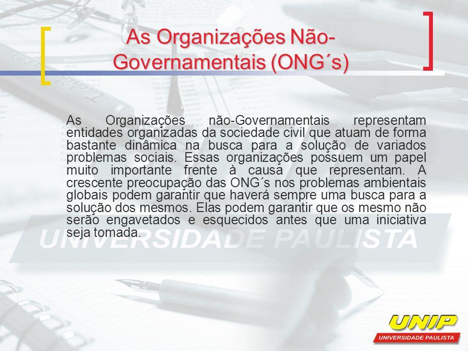 As Organizações Não- Governamentais (ONG´s) As Organizações não-Governamentais representam entidades organizadas da sociedade civil que atuam de forma