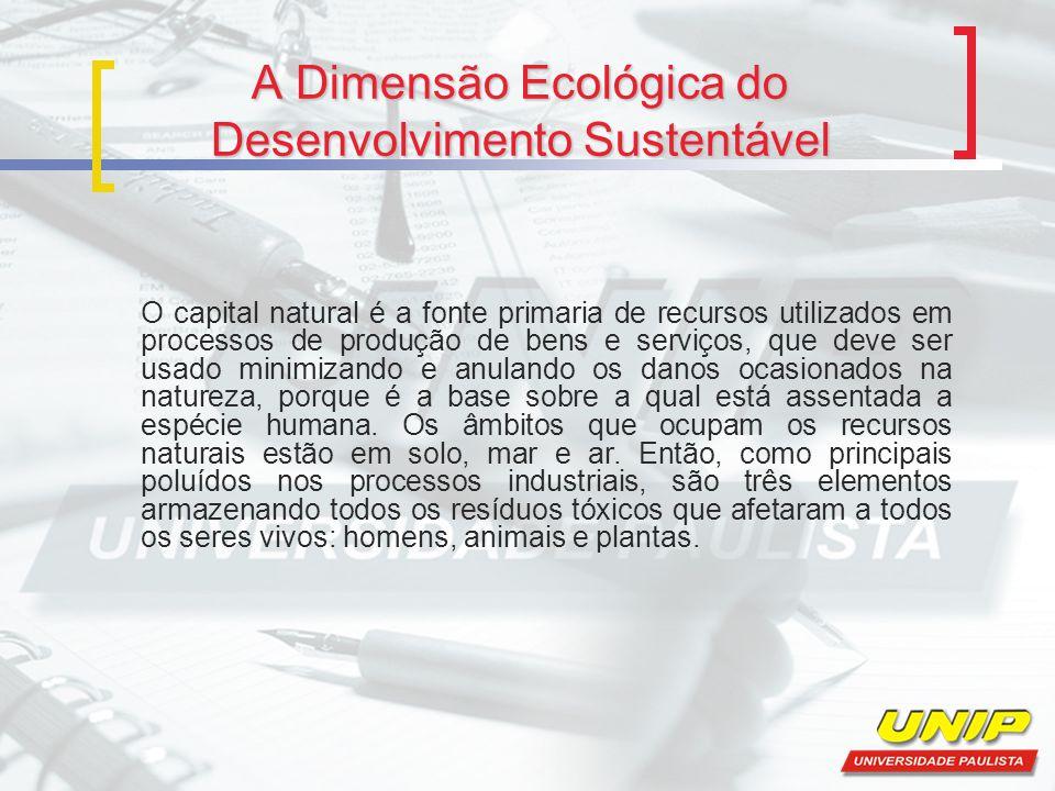 A Dimensão Ecológica do Desenvolvimento Sustentável O capital natural é a fonte primaria de recursos utilizados em processos de produção de bens e ser