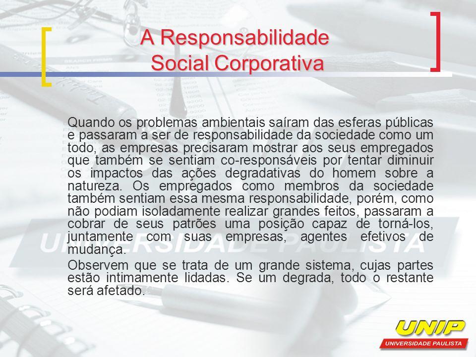 A Responsabilidade Social Corporativa Quando os problemas ambientais saíram das esferas públicas e passaram a ser de responsabilidade da sociedade com