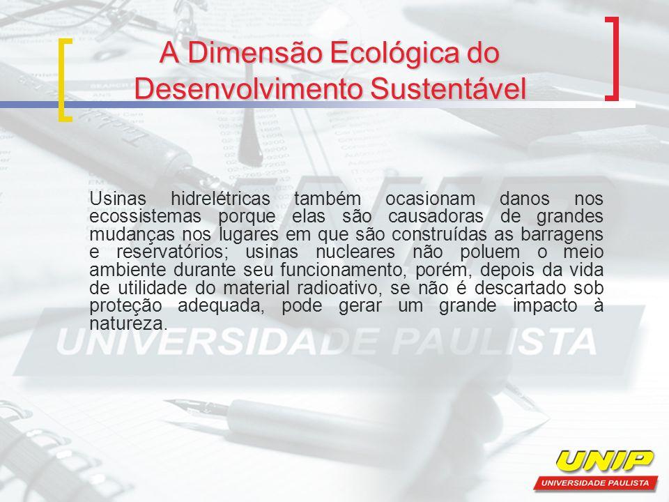 A Dimensão Ecológica do Desenvolvimento Sustentável Usinas hidrelétricas também ocasionam danos nos ecossistemas porque elas são causadoras de grandes