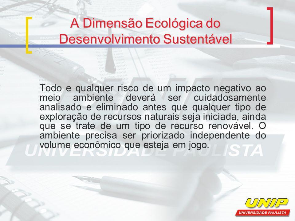 A Dimensão Ecológica do Desenvolvimento Sustentável Todo e qualquer risco de um impacto negativo ao meio ambiente deverá ser cuidadosamente analisado