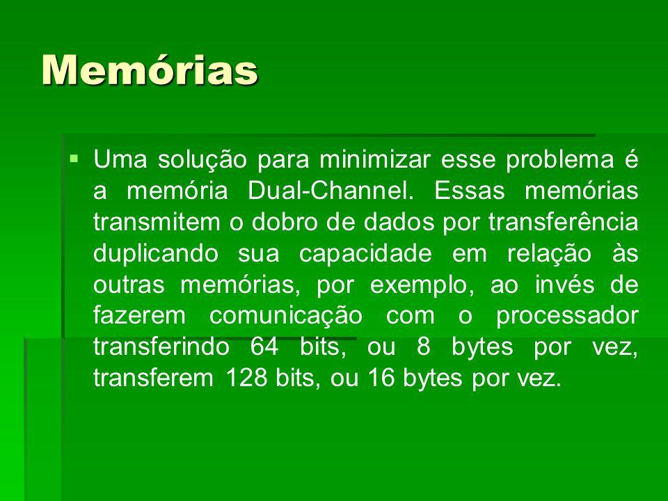 Memórias   Uma solução para minimizar esse problema é a memória Dual-Channel. Essas memórias transmitem o dobro de dados por transferência duplicand