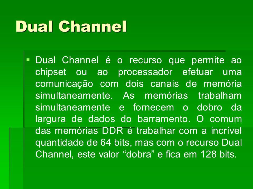 Dual Channel   Dual Channel é o recurso que permite ao chipset ou ao processador efetuar uma comunicação com dois canais de memória simultaneamente.