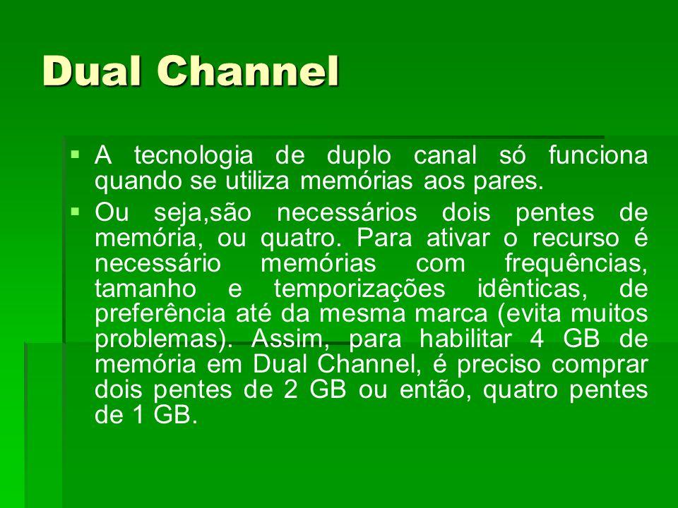 Dual Channel   A tecnologia de duplo canal só funciona quando se utiliza memórias aos pares.   Ou seja,são necessários dois pentes de memória, ou