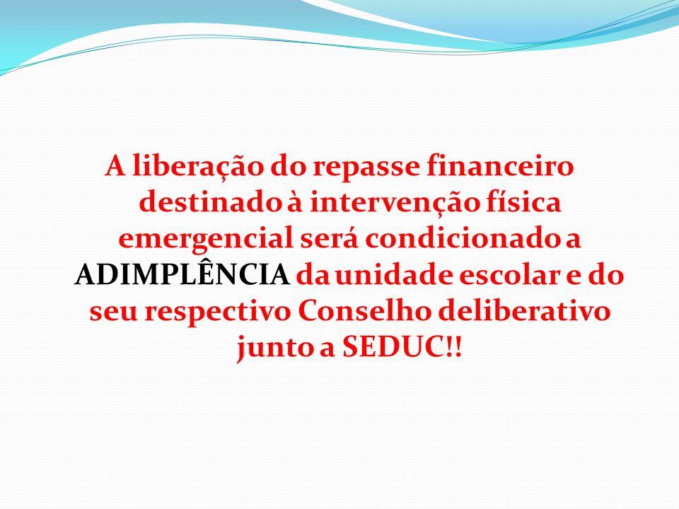 A liberação do repasse financeiro destinado à intervenção física emergencial será condicionado a ADIMPLÊNCIA da unidade escolar e do seu respectivo Conselho deliberativo junto a SEDUC!!