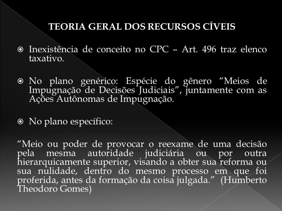 """TEORIA GERAL DOS RECURSOS CÍVEIS  Inexistência de conceito no CPC – Art. 496 traz elenco taxativo.  No plano genérico: Espécie do gênero """"Meios de I"""