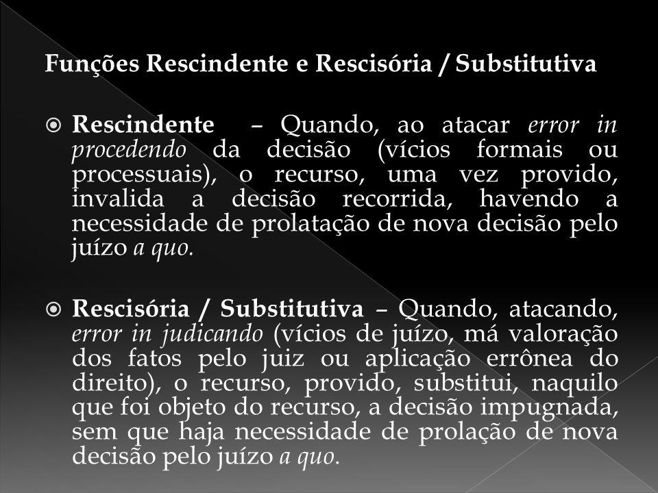 Funções Rescindente e Rescisória / Substitutiva  Rescindente – Quando, ao atacar error in procedendo da decisão (vícios formais ou processuais), o re