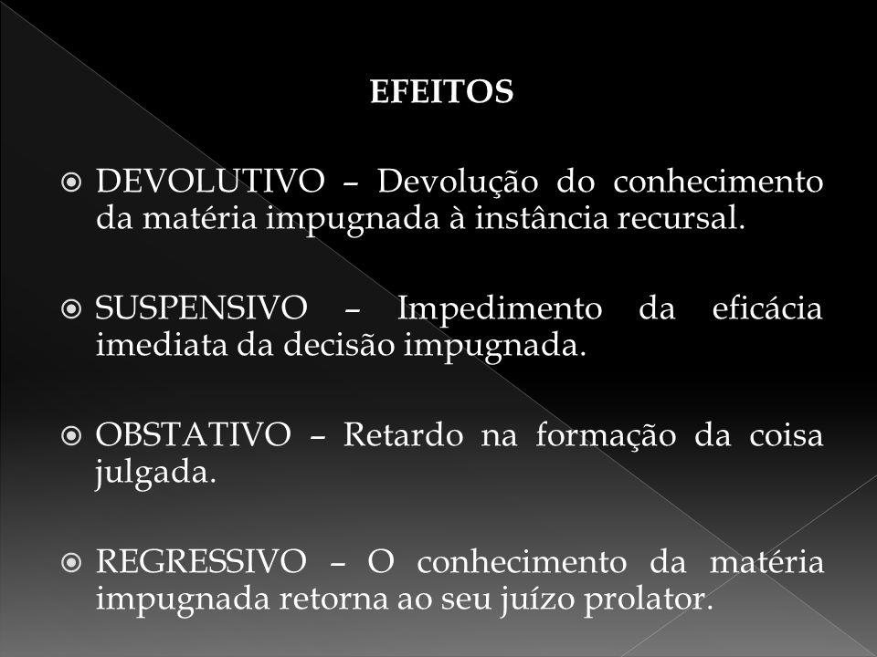 EFEITOS  DEVOLUTIVO – Devolução do conhecimento da matéria impugnada à instância recursal.  SUSPENSIVO – Impedimento da eficácia imediata da decisão