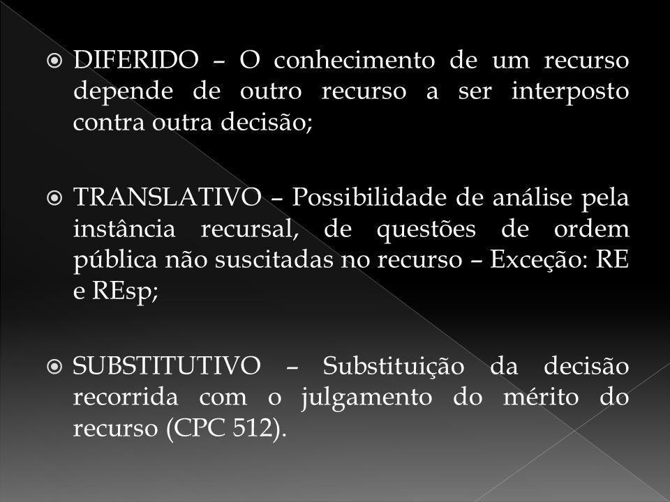  DIFERIDO – O conhecimento de um recurso depende de outro recurso a ser interposto contra outra decisão;  TRANSLATIVO – Possibilidade de análise pel