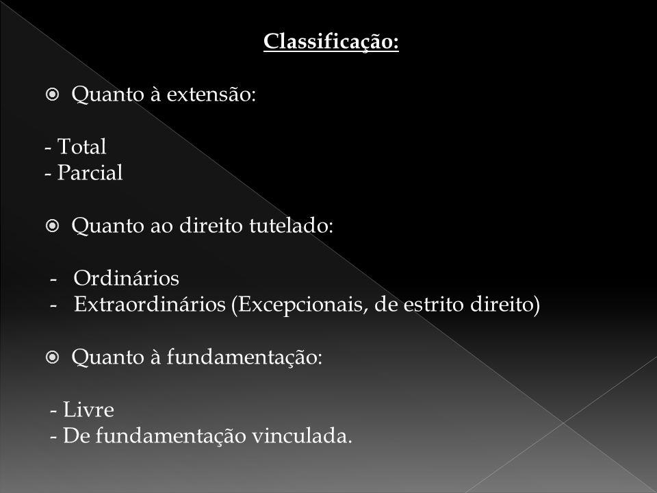Classificação:  Quanto à extensão: - Total - Parcial  Quanto ao direito tutelado: - Ordinários - Extraordinários (Excepcionais, de estrito direito)