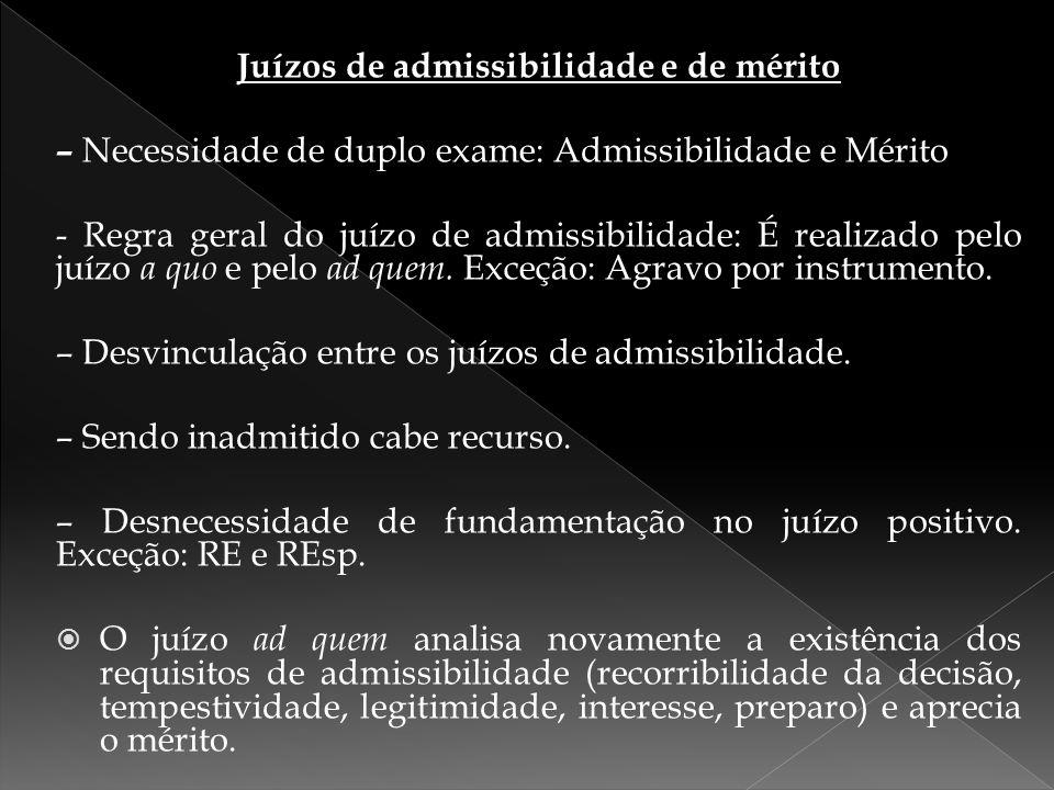 Juízos de admissibilidade e de mérito – Necessidade de duplo exame: Admissibilidade e Mérito - Regra geral do juízo de admissibilidade: É realizado pe