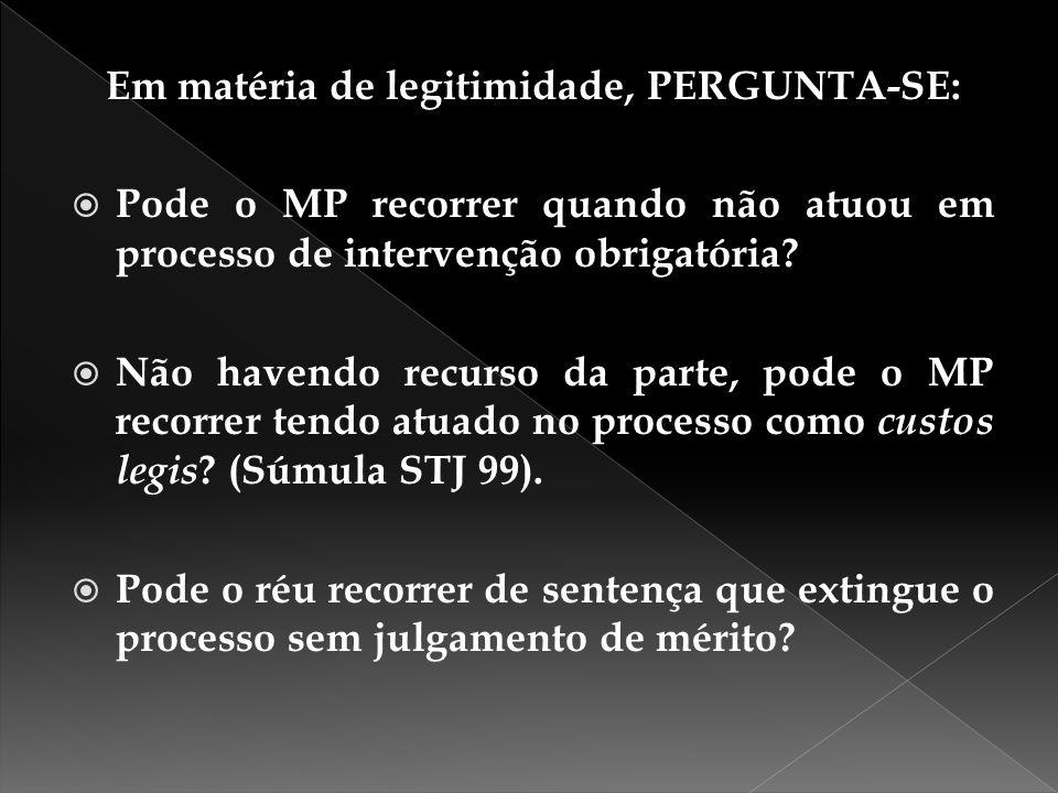 Em matéria de legitimidade, PERGUNTA-SE:  Pode o MP recorrer quando não atuou em processo de intervenção obrigatória?  Não havendo recurso da parte,