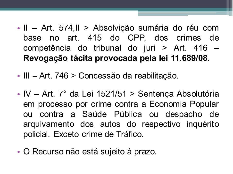 II – Art. 574,II > Absolvição sumária do réu com base no art. 415 do CPP, dos crimes de competência do tribunal do juri > Art. 416 – Revogação tácita