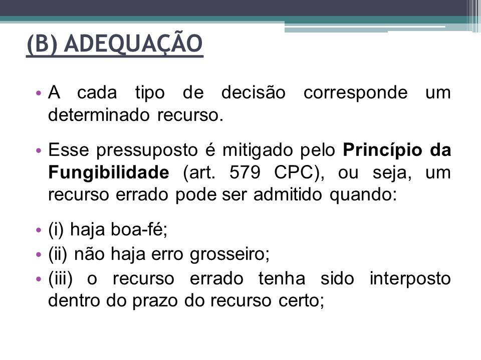 (B) ADEQUAÇÃO A cada tipo de decisão corresponde um determinado recurso. Esse pressuposto é mitigado pelo Princípio da Fungibilidade (art. 579 CPC), o