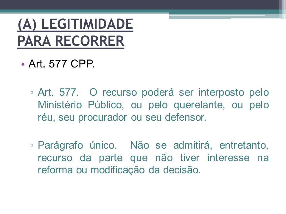 (A) LEGITIMIDADE PARA RECORRER Art. 577 CPP. ▫ Art. 577. O recurso poderá ser interposto pelo Ministério Público, ou pelo querelante, ou pelo réu, seu