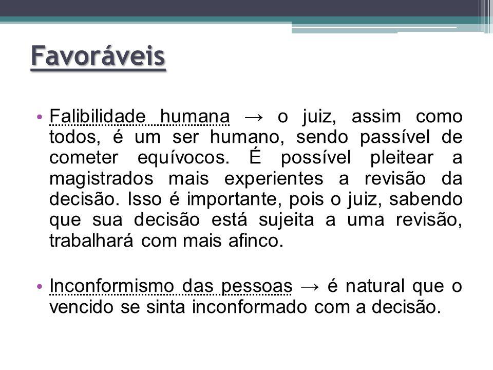 Falibilidade humana → o juiz, assim como todos, é um ser humano, sendo passível de cometer equívocos. É possível pleitear a magistrados mais experient