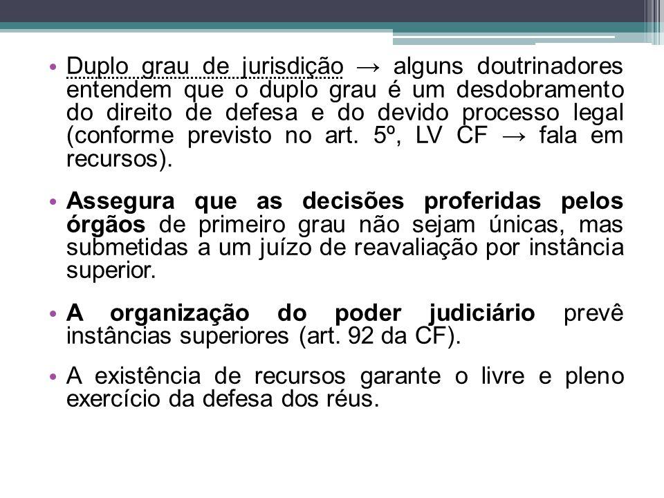 Duplo grau de jurisdição → alguns doutrinadores entendem que o duplo grau é um desdobramento do direito de defesa e do devido processo legal (conforme