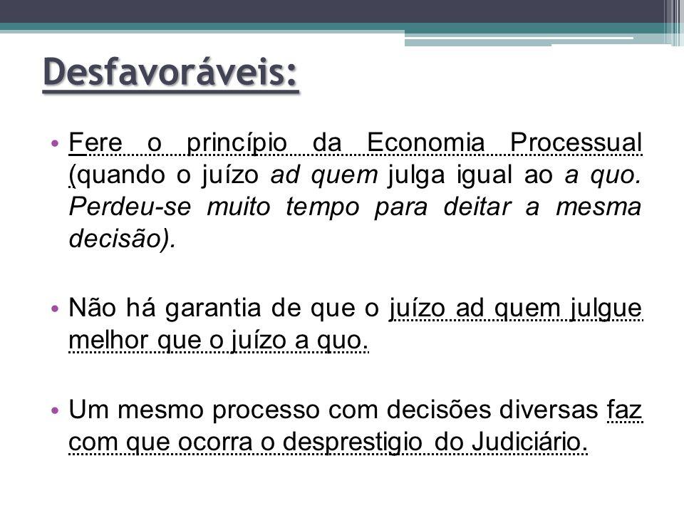 Fere o princípio da Economia Processual (quando o juízo ad quem julga igual ao a quo. Perdeu-se muito tempo para deitar a mesma decisão). Não há garan