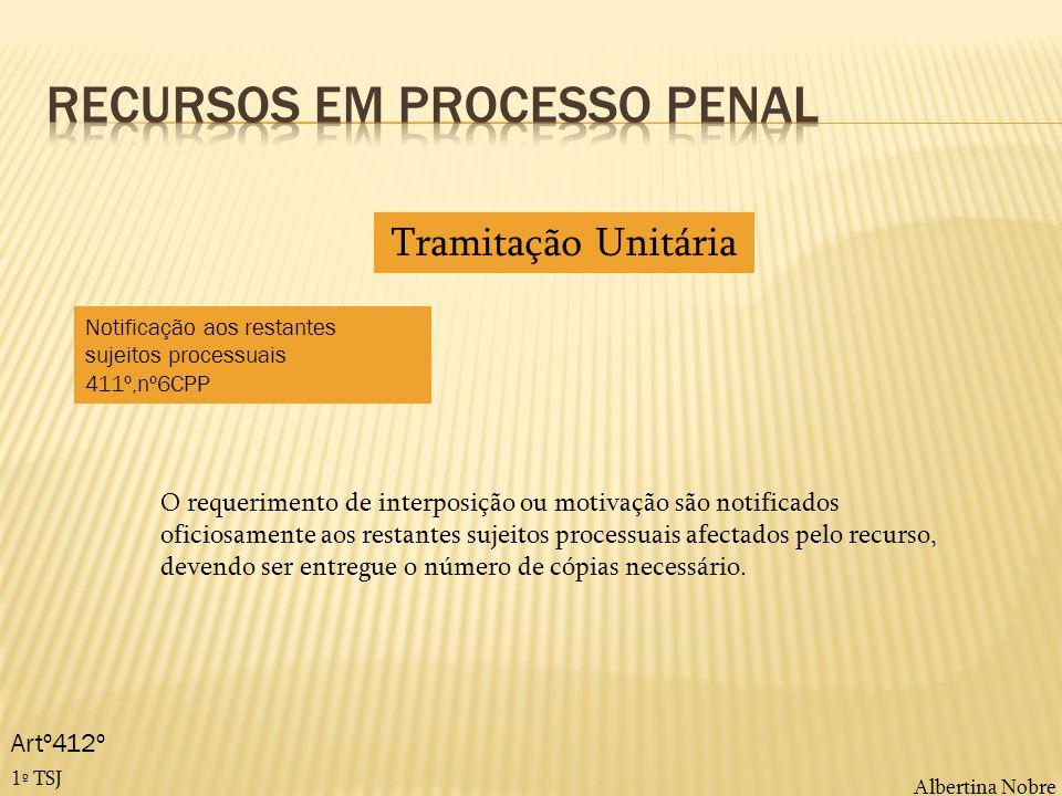 Albertina Nobre 1º TSJ Tramitação Unitária O requerimento de interposição ou motivação são notificados oficiosamente aos restantes sujeitos processuai