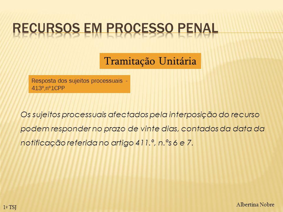 Albertina Nobre 1º TSJ Os sujeitos processuais afectados pela interposição do recurso podem responder no prazo de vinte dias, contados da data da noti
