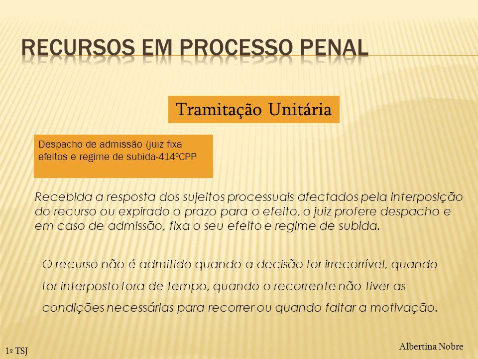 Albertina Nobre 1º TSJ Recebida a resposta dos sujeitos processuais afectados pela interposição do recurso ou expirado o prazo para o efeito, o juiz p