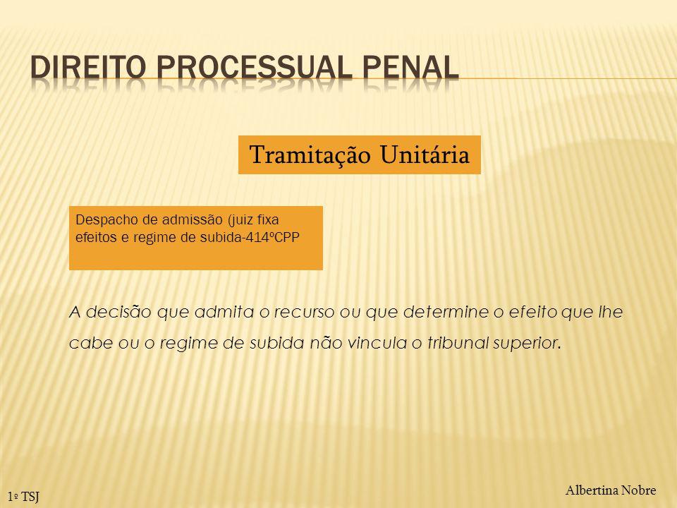 Albertina Nobre 1º TSJ A decisão que admita o recurso ou que determine o efeito que lhe cabe ou o regime de subida não vincula o tribunal superior. Tr