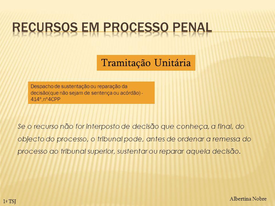 Albertina Nobre 1º TSJ Se o recurso não for interposto de decisão que conheça, a final, do objecto do processo, o tribunal pode, antes de ordenar a re