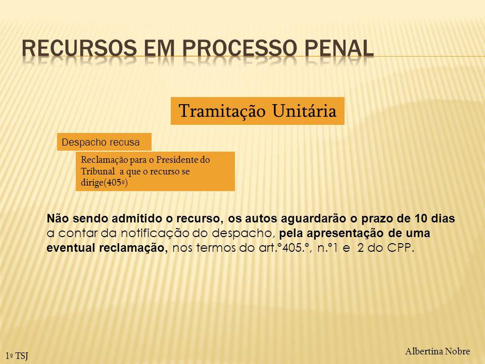 Albertina Nobre 1º TSJ Não sendo admitido o recurso, os autos aguardarão o prazo de 10 dias a contar da notificação do despacho, pela apresentação de