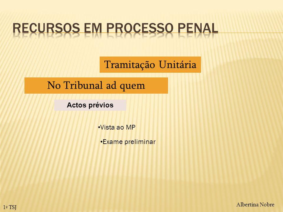 Albertina Nobre 1º TSJ Actos prévios Tramitação Unitária No Tribunal ad quem Vista ao MP Exame preliminar
