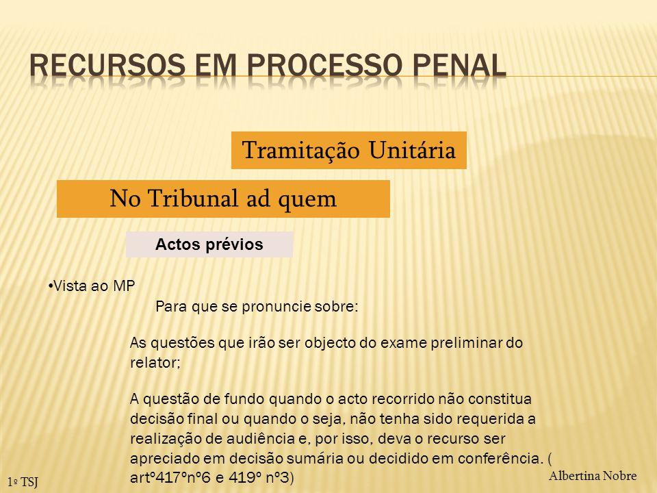 Albertina Nobre 1º TSJ Actos prévios Tramitação Unitária No Tribunal ad quem Vista ao MP Para que se pronuncie sobre: As questões que irão ser objecto