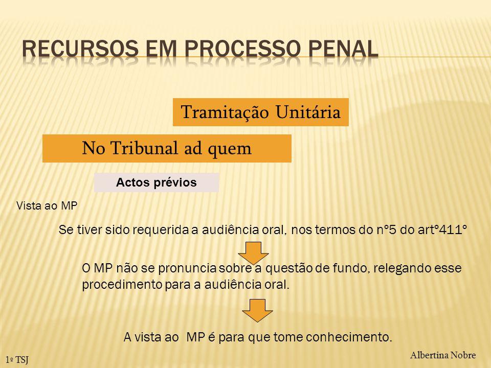 Albertina Nobre 1º TSJ Actos prévios Tramitação Unitária No Tribunal ad quem Vista ao MP O MP não se pronuncia sobre a questão de fundo, relegando ess