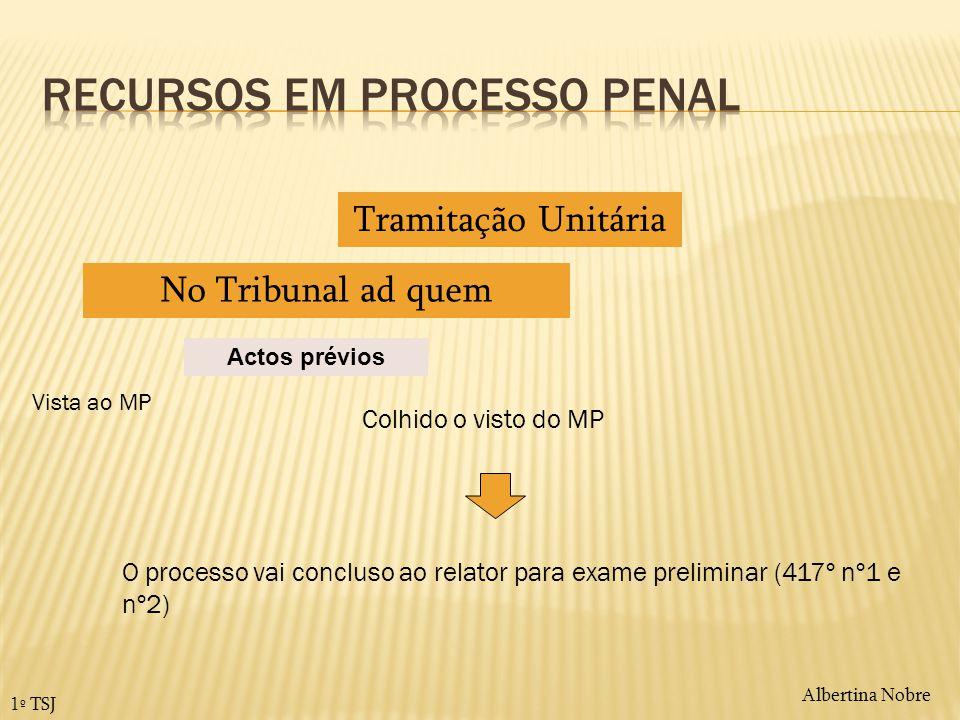 Albertina Nobre 1º TSJ Actos prévios Tramitação Unitária No Tribunal ad quem Vista ao MP O processo vai concluso ao relator para exame preliminar (417