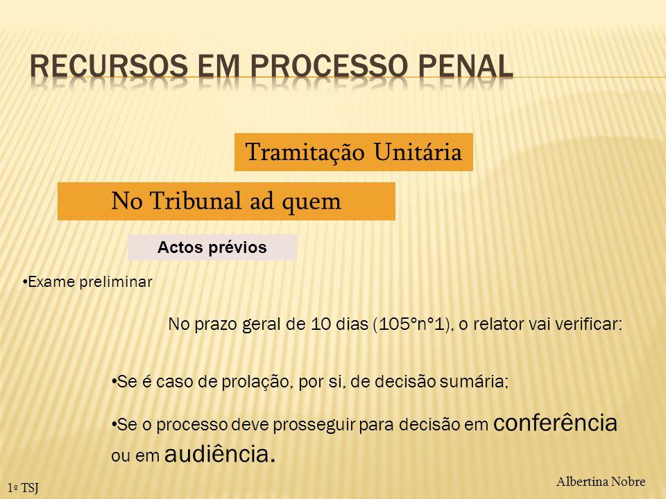 Albertina Nobre 1º TSJ Actos prévios Tramitação Unitária No Tribunal ad quem Exame preliminar Se é caso de prolação, por si, de decisão sumária; No pr