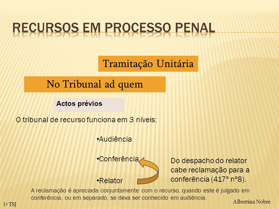 Albertina Nobre 1º TSJ Actos prévios Tramitação Unitária No Tribunal ad quem O tribunal de recurso funciona em 3 níveis: Conferência Audiência Relator