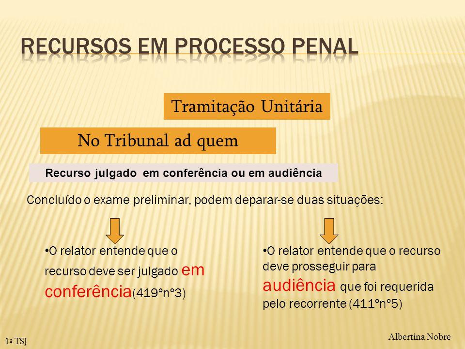 Albertina Nobre 1º TSJ Tramitação Unitária No Tribunal ad quem Concluído o exame preliminar, podem deparar-se duas situações: O relator entende que o