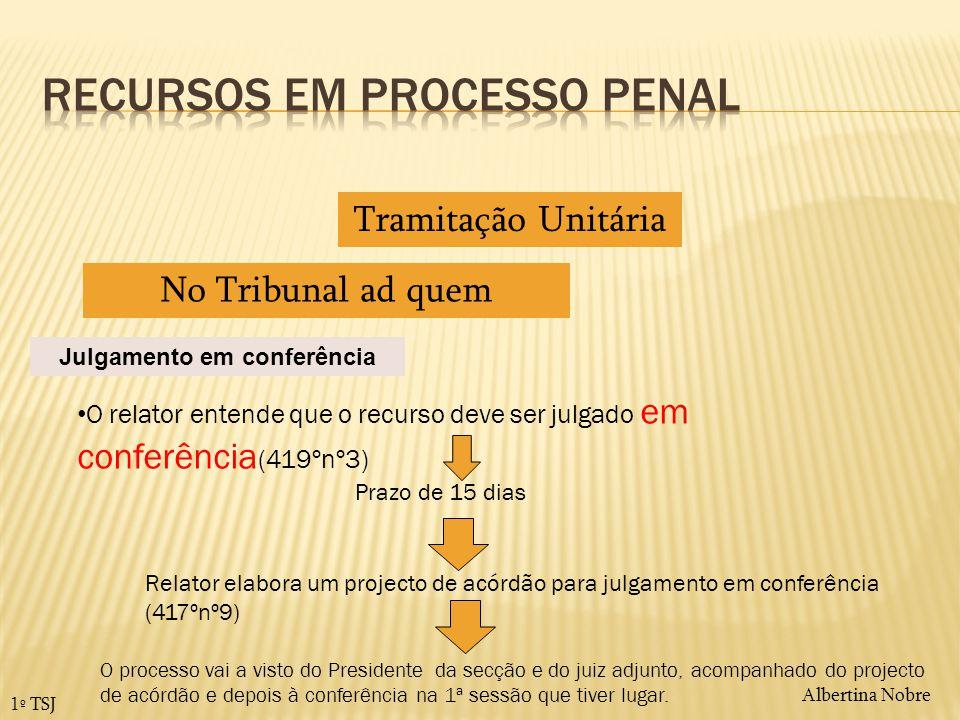 Albertina Nobre 1º TSJ Tramitação Unitária No Tribunal ad quem O relator entende que o recurso deve ser julgado em conferência (419ºnº3) Julgamento em