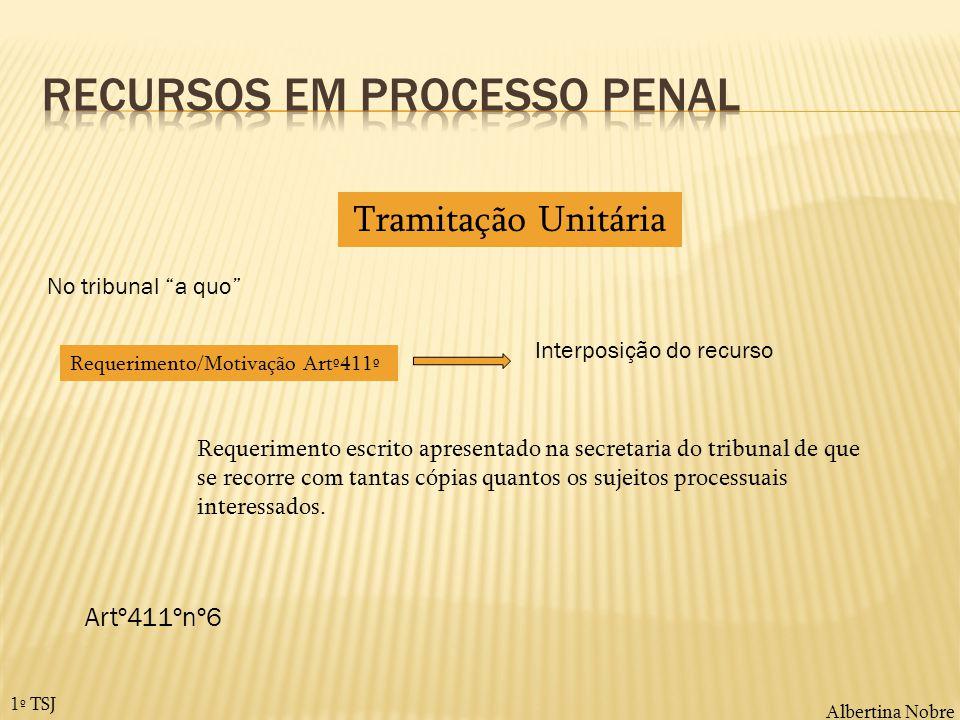 Albertina Nobre 1º TSJ Tramitação Unitária Requerimento/Motivação Artº411º Interposição do recurso Requerimento escrito apresentado na secretaria do t