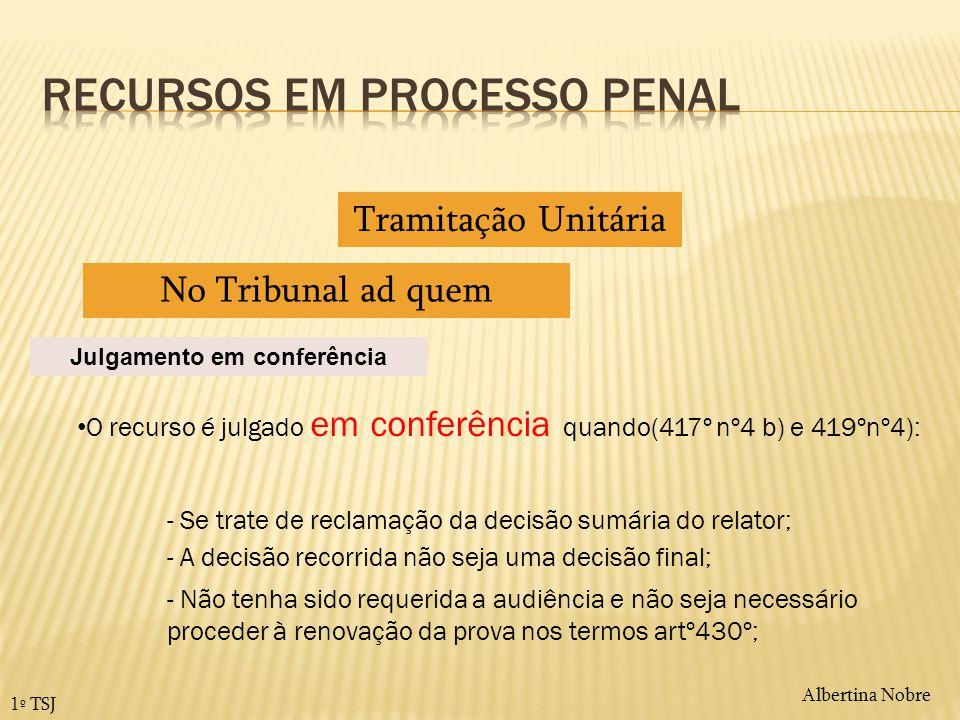Albertina Nobre 1º TSJ Tramitação Unitária No Tribunal ad quem O recurso é julgado em conferência quando(417º nº4 b) e 419ºnº4): Julgamento em conferê