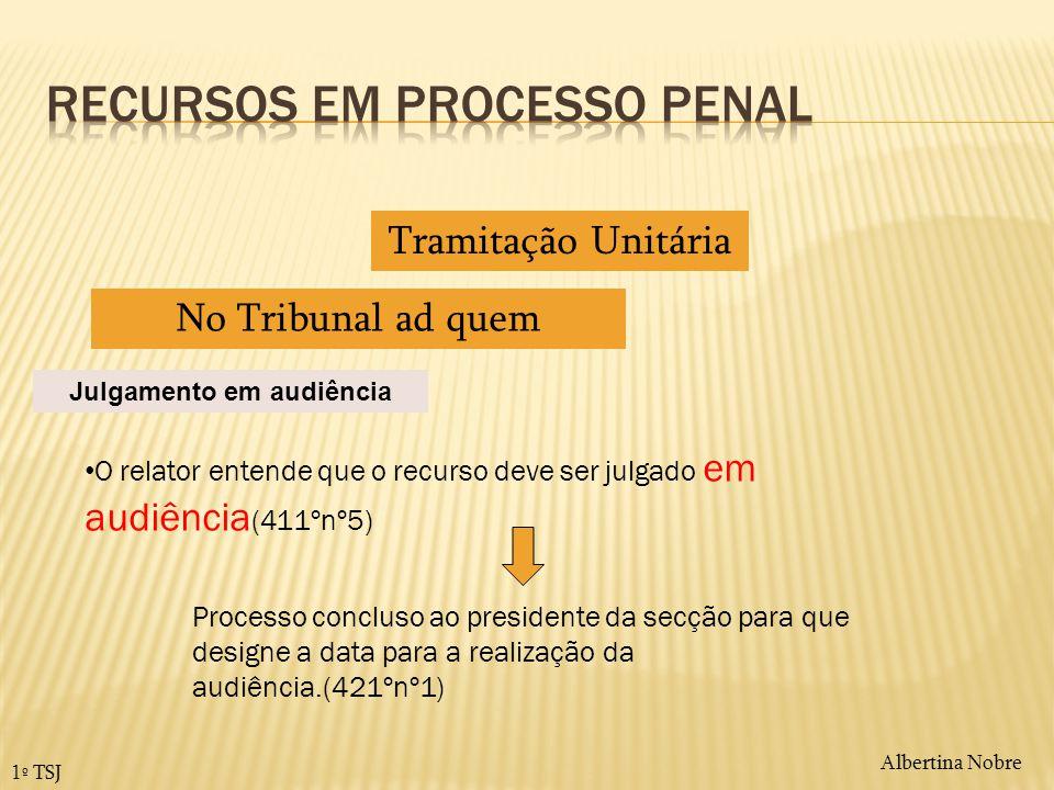 Albertina Nobre 1º TSJ Tramitação Unitária No Tribunal ad quem O relator entende que o recurso deve ser julgado em audiência (411ºnº5) Julgamento em a