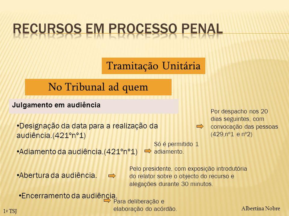 Albertina Nobre 1º TSJ Tramitação Unitária No Tribunal ad quem Julgamento em audiência Designação da data para a realização da audiência.(421ºnº1) Por