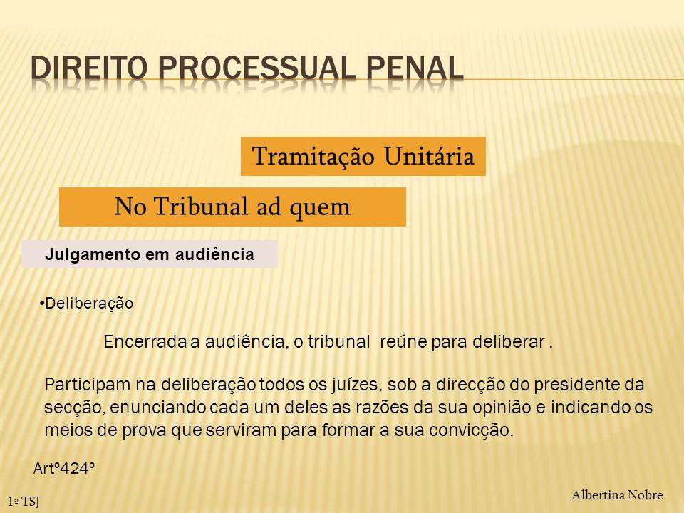 Albertina Nobre 1º TSJ Tramitação Unitária No Tribunal ad quem Julgamento em audiência Deliberação Encerrada a audiência, o tribunal reúne para delibe