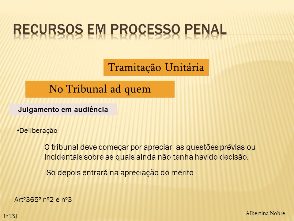 Albertina Nobre 1º TSJ Tramitação Unitária No Tribunal ad quem Julgamento em audiência Deliberação O tribunal deve começar por apreciar as questões pr