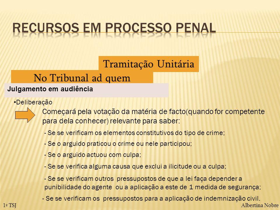 Albertina Nobre1º TSJ Tramitação Unitária No Tribunal ad quem Julgamento em audiência Deliberação Começará pela votação da matéria de facto(quando for