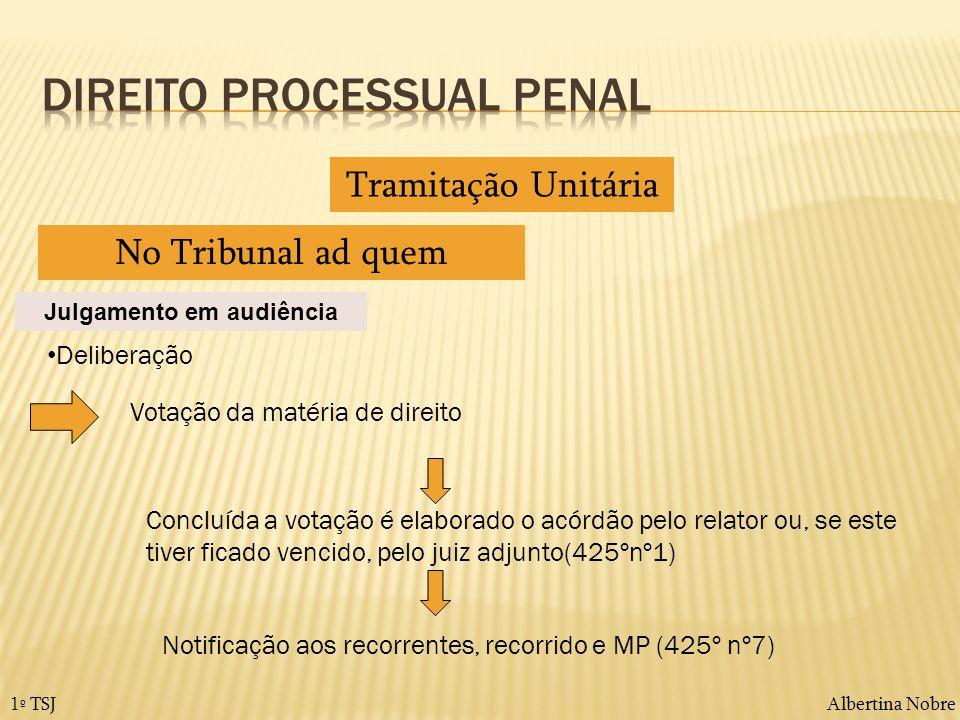 Albertina Nobre1º TSJ Tramitação Unitária No Tribunal ad quem Julgamento em audiência Deliberação Votação da matéria de direito Concluída a votação é