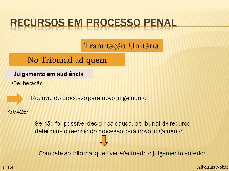 Albertina Nobre1º TSJ Tramitação Unitária No Tribunal ad quem Julgamento em audiência Deliberação Reenvio do processo para novo julgamento Se não for