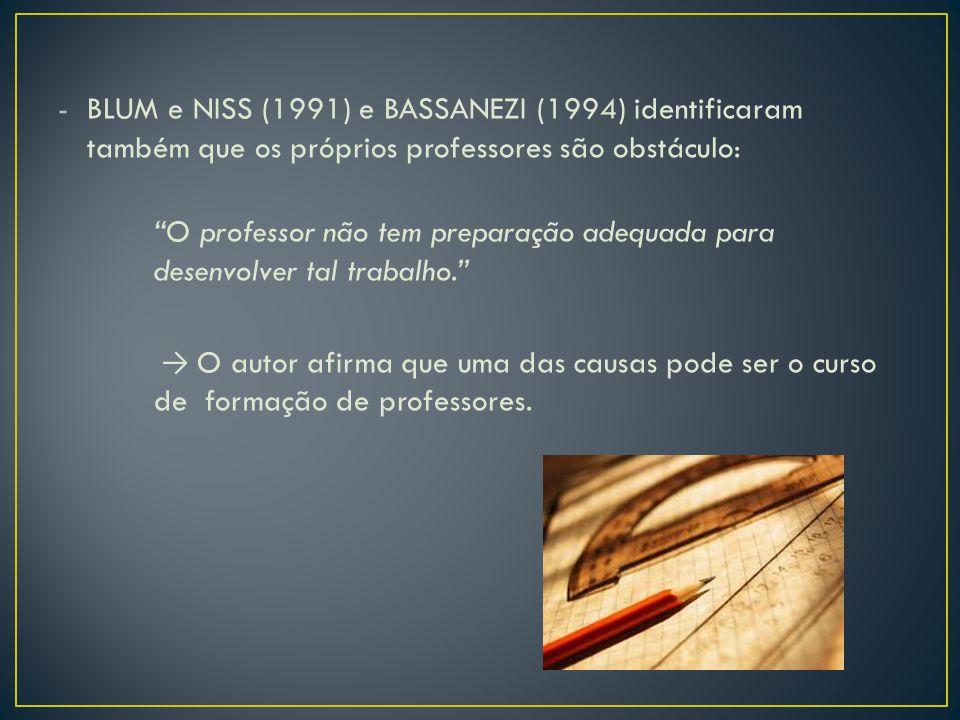 """-BLUM e NISS (1991) e BASSANEZI (1994) identificaram também que os próprios professores são obstáculo: """"O professor não tem preparação adequada para d"""